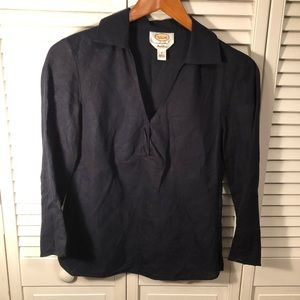 Talbots navy 100% Irish Linen blouse
